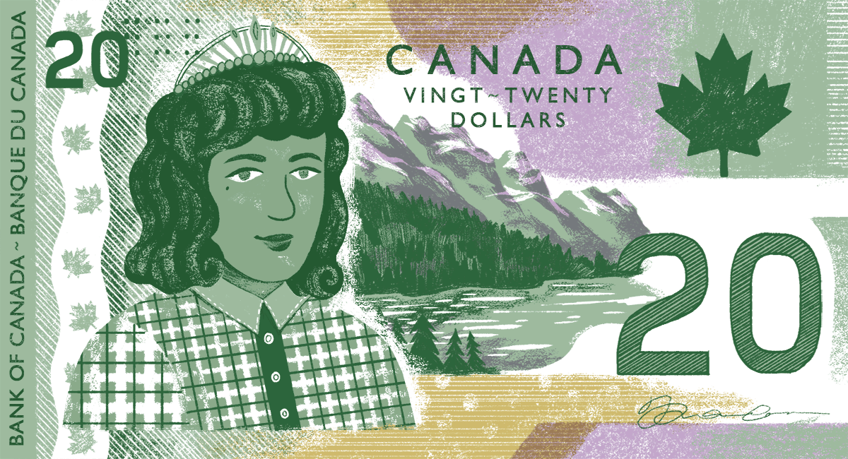 A $20 Canadian bank note with a brown-skinned Queen against a backdrop of the Rockies